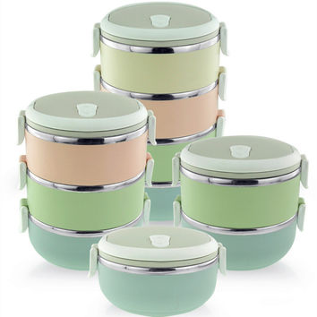 Marcarons portable Stainless Steel Thermos Bento Lunch Box Children's Tableware Thermal Food Container Food Box Lunchbox