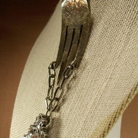 Art Nouveau Mucha Style Silver Plated Vintage Fork Art Necklace With Crystal Pave Pendant Charm Original Upcycled Beauty
