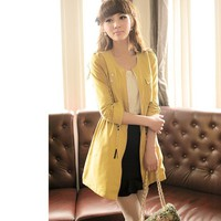 Women Cotton Round Neck Long Sleeve Pocketed Yellow Outwear With Belt M/L@MF12111y - $35.89 : DressLoves.com.
