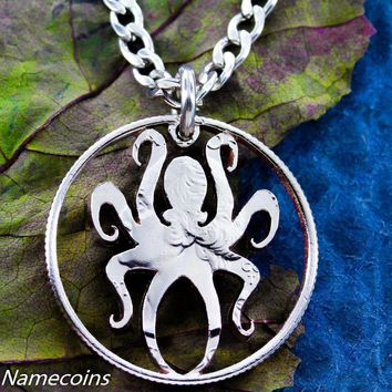 Octopus Necklace, Nautical Jewelry, Kraken hand cut Quarter by Namecoins