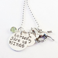 Personalized Love Horses Charm Necklace, Equestrian Charm Necklace, Horse Initial Necklace with Horse Charm and Swarovski Crystal Birthstone