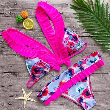 Sext Floral Printed Bikini Swimsuits Swimwear Bathing Suits