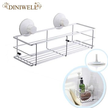 DINIWELL Metal Wall Mounted Shelf Bathroom Shower Storage Basket Strong Chuck Kitchen Organizer Removable