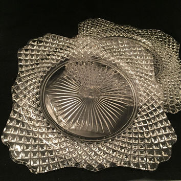 Vintage Salad Plates, Lunch Plates, Set of 3 Westmoreland Clear English Hobnail Plates, Vintage Diamond Point Glass Plates