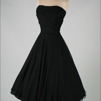 Vintage 1950's Black Crepe Chiffon Saks Cocktail Dress