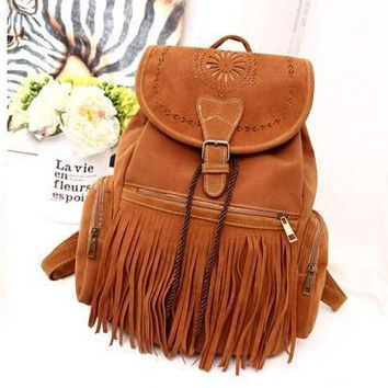 Tassel Backpack Vintage Drawstring Suede Leather Backpack Bags for women mochila feminina Women backpack Fringe suede bag
