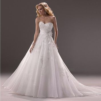 2017 hot sale wedding dress Lace applique chiffon strapless floor length sleeveless wedding dress vestido de noiva