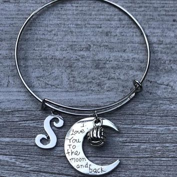 Personalized Volleyball Love You to the Moon and Back Bangle Bracelet