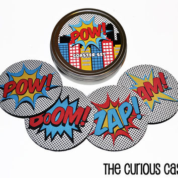 Comic Book Super Hero Action Round Coaster Set of 4 with Storage Gift Tin