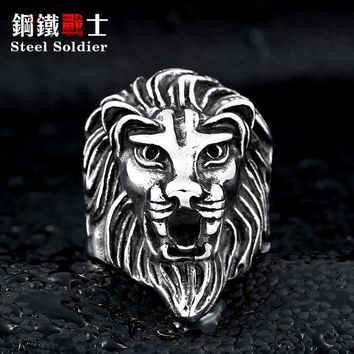 Steel soldier Lion Head Ring for Men's Fashion Stainless Steel ring trendy titanium steel jewelry