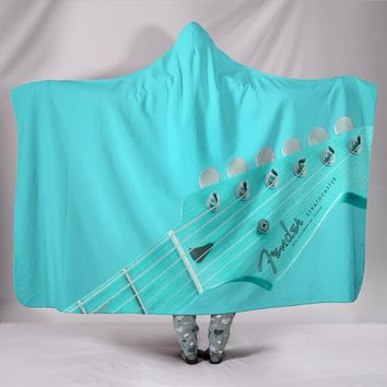 Fender Stratocaster Green Plush Lined Hooded Blanket