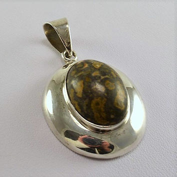 Sterling Silver Pendant w/ Oval Orbicular Jasper - Mexico 925  - Chunky - Dark Chocolate Browns - Large Unisex