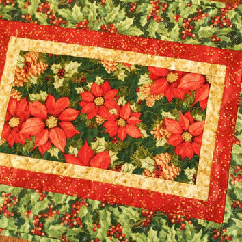 Quilted Christmas Table Runner Quilt with Red and Green Poinsettias and Holly