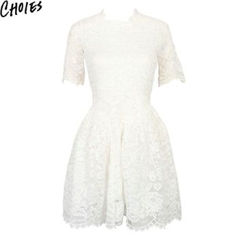Women White Short Sleeve Lined Lace Vintage Skater Mini Dress O Neck Summer New Fashion Elegant Floral Cute A Line Dresses