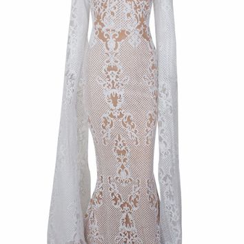 Set The Stage White Beige Glitter Lace Pattern Extra Long Sleeves Mock Neck Bodycon Mermaid Maxi Dress