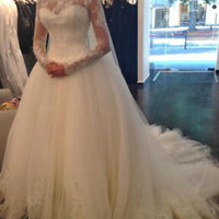 Illusion Long Sleeves Wedding Dress with Sequins Custom Size 0 2 4 6 8 10 12