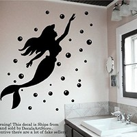 Bathroom Wall Decals Vinyl Mermaid Stickers Wall Art Bedroom Home Decor Art Mural Nursery Kids Dorm Interior Sea Ocean SM210