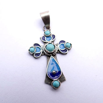 Turquoise Sterling Silver Cross Armenian Cross Pendant Enamel Silver Cross Necklace Sterling Silver Jewelry Best Selling Turquoise Cross