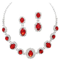 Red Regal Statement Bridal Bridesmaid Necklace Earring Set Silver Tone