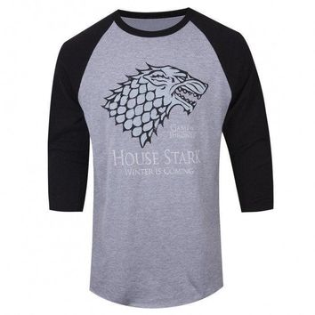 "Game Of Thrones STARK DIREWOLF ""WINTER IS COMING"" Raglan T-Shirt NWT Licensed"