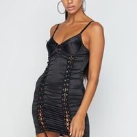 All Mines Satin Lace Up Detail Bustier Bodycon Mini Dress
