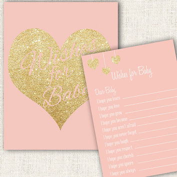 Wishes for baby game pink and gold baby shower with wishes for baby sign printable download diy girl baby shower games