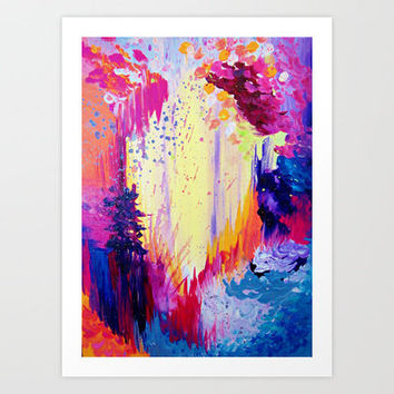 IN TIMES OF CHAOS - Intense Nature Abstract Acrylic Painting Wild Rainbow Volcano Waves Fine Art  Art Print by EbiEmporium