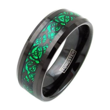 Black Tungsten Ring With Green Background Inlay Dragon Design Pattern - 8mm