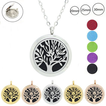Chain as Gift Fashion Magnetic 316L Stainless Steel Tree of Life 20mm 25mm 30mm Perfume Locket Aromatherapy Locket Pendant