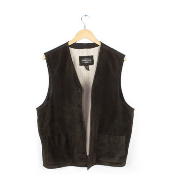 Banana Republic Suede Leather Vest / Chocolate Brown Hippie Western Cowboy 100% Leather /  Mens Large