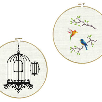 Birdcage and Released Birds - a set of two Cross Stitch Patterns in PDF - INSTANT DOWNLOAD
