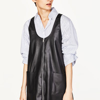 FAUX LEATHER PINAFORE DRESS WITH ZIP DETAILS
