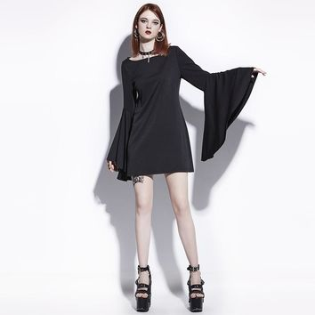 Gothic Mini Dress Black Women Flare Sleeve Casual Dress Goth Female Fashion Witch Vampire Gothics Mini Dress