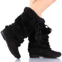 Mukluks Soft Furry Pom-pom Snow Winter Flat Boot Black