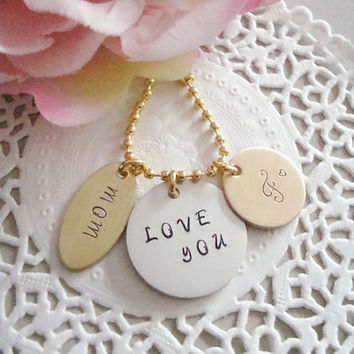 Gold Hand Stamped Keychain With Initial And Two Tags stamped With the Words Of Your Choice