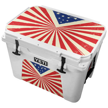 Vintage Triangle American Flag Skin for the Yeti Tundra Cooler