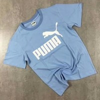 PUMA Fashion new bust letter print women and men short sleeve t-shirt top Blue