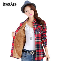 Autumn winter warm cotton long-sleeved thick velvet women's plaid shirt flannel office shirts 20 colors NS2357