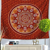 Orange You Lovely Mandala Boho Bed Wall Tapestry