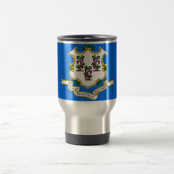 Travel Mug with Flag of Connecticut State - USA