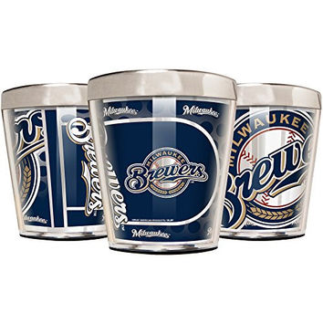MLB Milwaukee Brewers Acrylic and Stainless Steel Shot Glass Set (3-Piece), 2-Ounce, Silver