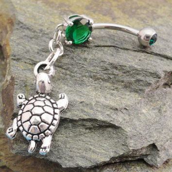 Turtle Belly Button Ring, Green Navel Jewelry Belly Ring