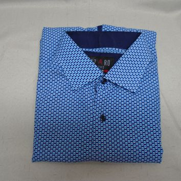 Azaro Uomo Italian Collection Men's Button Down Dress Shirt Size Large Blue Pattern