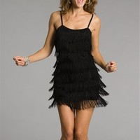Black Fringe Flapper Cocktail Dresses
