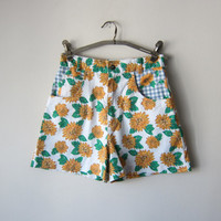 90s Sunflower High Waisted Shorts // White and Blue Gingham // Kawaii 90s Grunge -- Size XS