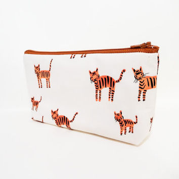 Pencil Case, Pencil Pouch, Medium Zipper Pouch, Cute Pencil Pouch, Fabric Pouch, Zipper Pouch, Tiger Stripes Cat in Orange, Cotton and Steel