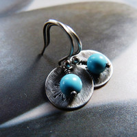 Howlite turquoise dandelion silver earrings, Sterling silver disc, rustic dangle earrings, natural jewelry