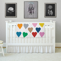 """Project M """"Colorful Hearts"""" Fleece Throw Blanket"""