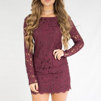 When In Rome Wine Lace Dress