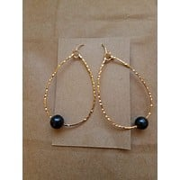 Gold Plated Teardrop Earring with Fresh Water Black Pearl